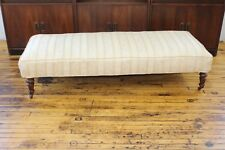 "Antique Upholstered Bench on Casters- 69 1/2"" Long"