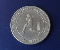 20 Cent Coin 2001 SIR DONALD BRADMAN TRIBUTE 20c Australian out of circulation