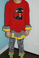 Emily Rose Girls 2 PC Outfit Red Ruffles Cat size 8