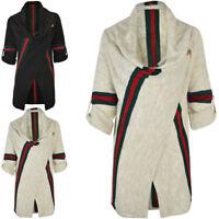 Womens Ladies Thick Winter Wrap Cardigan Jumper Sweater Stripe Long Short Sleeve