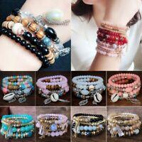 4Pcs Women Boho Multilayer Natural Stone Crystal Bangle Beaded Bracelet Jewelry