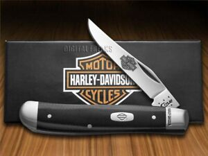 Case Xx Harley Davidson Mini Cazador Cuchillo Negro y Plata G-10 52123