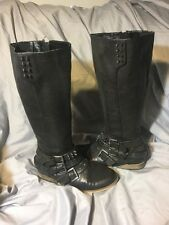 NOT RATED BLACK EMBELLISHED Rhinestone Studded KNEE HIGH Zip BOOTS SIZE 7.5