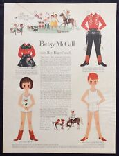 Vintage Betsy McCall Mag. Paper Doll, Betsy Visits Roy Rogers Ranch, Nov. 1959