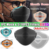 Silicone Face Cover Separate Mouth Nose Reusd With 5/10 Filter Face Shield X/XL
