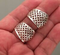 Vintage .925 STERLING SILVER Signed Thailand Woven Post Pierced Earrings 8.70g