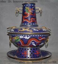 Chinese Palace Bronze Cloisonne Gilt dragon Carbon-heating Fondue Hot pot Boiler