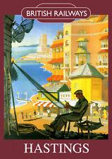 Hastings Vintage British Railways Poster (repro) 2 - Seaside / Landmark A4