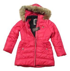 Tommy Hilfiger Girls Raspberry Sorbet Pink Chevron Hooded Puffer Jacket