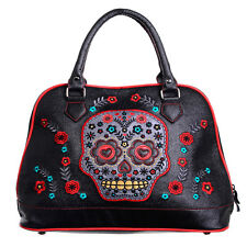 Banned Apparel Sugar Skull Candy Muerto Faux Leather Shoulder Bag Handbag Black