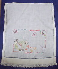 VINTAGE embroidered chair back cover/ panel shabby chic