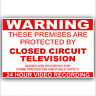 3 x Premises Protected by CCTV Camera Warning Sticker-Worded 24hr Security Sign