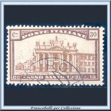 1924 Italia Regno Anno Santo cent. 30 + 15 bruno e bruno chiaro n. 170 Usato