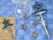 Murano Art Deco Starfish Glass Wine Opener, Stopper, Charm, Wedding Favor Gift