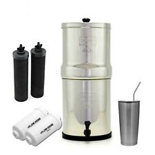 Travel Berkey Water Filter System w/ 2 Black Berkey & PF2 Filters & 20 oz SS Cup