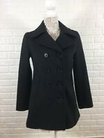 J Crew Charcoal Gray Soft Black Wool Pea Coat Jacket Insulated Woman's Small