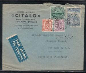 BELGIUM Commercial Cover Lodelinsart to New York City 2-6-1948 Cancel