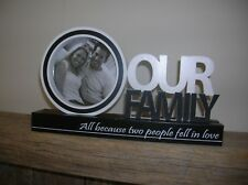 BLACK WHITE OUR FAMILY WOODEN WORD BLOCK WITH PHOTO FRAME