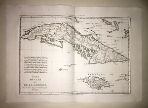 Bonne Rigobert -CARTE des  Isles de Cuba et de la Jamaïque - 1761-1780