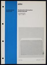 BRAUN L-420/1 Original Lautsprecher Service-Manual/Technische Information o165