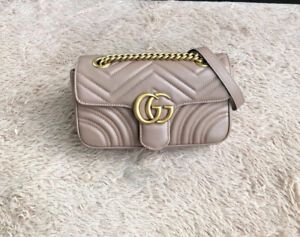 GUCCI Marmont Matelasse Mini Shoulder Bag - dusty pink leather