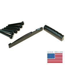 Black Bridge Pins (6), Saddle and Nut bundle for Acoustic Guitar