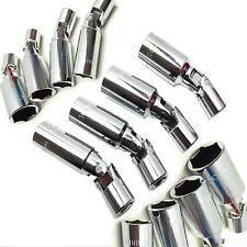 "4pc Universal Spark Plug Socket Set 14,16,18,21mm 3/8"" Drive Universal Joint Crv"