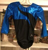Motionwear Gymnastics Competition Leotard Leo Adult Small AS Foil Black Blue