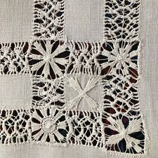 Antique Victorian Drawn Thread Needlepoint Lace Runner White Linen Vintage
