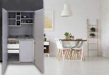 Cucina Armadio Mini Cucinino Ufficio Blocco Grigio Argento Respekta