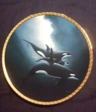 """Orca Trio"" Great Mammals Of The Sea Wyland The Hamilton Whale Plate"