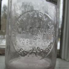 Original Thatcher Milk Jar Pint w/ ORIGINAL glass Lid Marysville & Yuba City CAL