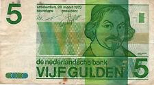 1973 Netherlands 5 Gulden Banknote
