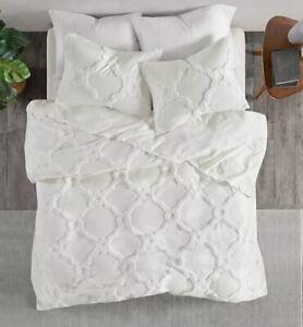 Madison Park Nollie Chenille Geometric Coverlet Set comforter Cal/ King White
