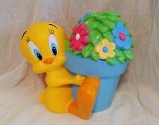 Vintage 1998 Warner Bros Looney Tunes Tweety Bird Flower Pot Coin Bank