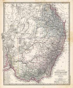 1884 Steiler Map: South East Australia: New S. Wales, Queensland & S Australia