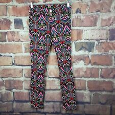 H & M Divided Skinny Jeans Womens Size 8 Aztec Stretch Pockets Bright Design