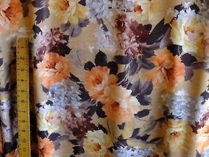 Double cotton jersey lycra  slight loop back  multicolored floral  2 way stretch