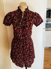 Ladies LIVING DOLL Dress Purple Black Pink Floral Size 8 Short Button Up Shirt
