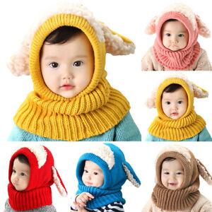 Toddler Kid  Boy Girl Knitted Hood Scarf Beanie Hat Cute Ear Crochet Winter Cap