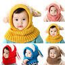 Toddler Baby Kids Boy Girl Winter Warm Knitted Hood Scarf Set Ear Beanie Hat Cap