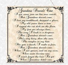 Shabby Grandma Doesn't Care Poem Wooden Sign Plaque Chic Gift Nanny Nan Nanna