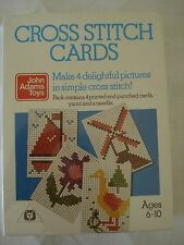 NEW SEALED 4 x CROSS STITCH CARDS JOHN ADAMS TOYS AGE 6-10 YRS