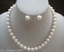 Real Natural 7-8MM White Freshwater Cultured Pearl Necklace Earring 18'' Set