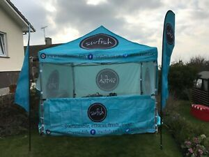 Gala Tent Gazebo Custom Printed 3m x 3m side panels and Flags Never Used
