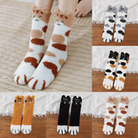 Women's Sleeping Coral Fleece Bed Socks Warm Tube Fluffy Cosy Lucky Cat Claws