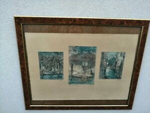 Pericles Menin (Venice, 1880 - 1944) Impressions Venetian Blinds Etching On Silk