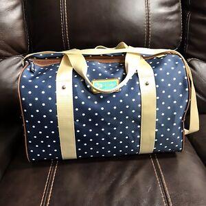 NWOT Lily Bloom Tara Overnighter Duffel Bag - Polka Dot Navy Print