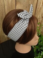 Wired Dolly Bow Hounds Tooth Wire Headband  Rockabilly Hair Scarf - Headwrap