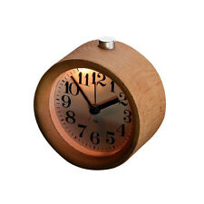 Wooden Alarm Clock Small Round Silent Snooze Backlight Desk Wood Analogue Clock